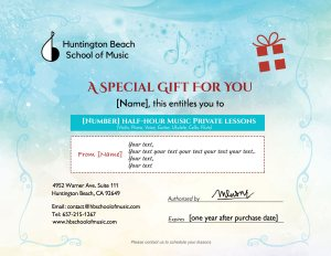 Gift Package Huntington Beach School of Music